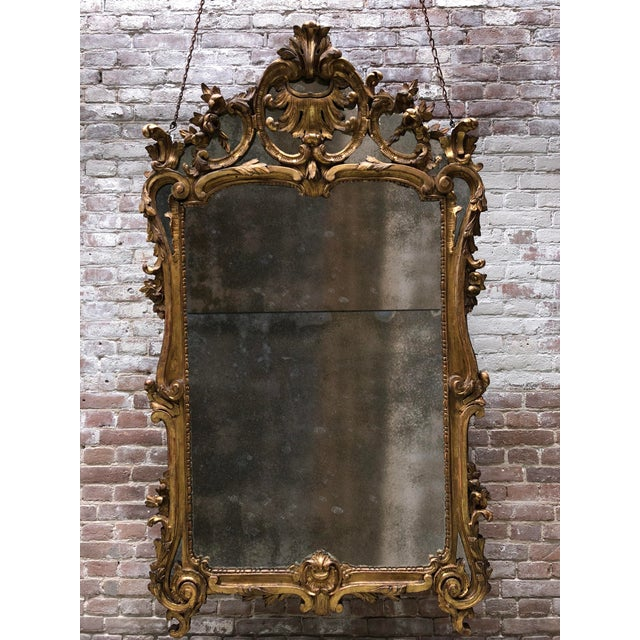 18th Century Carved Gilt Wood Louis XV Mirror, Provenance Paris France For Sale - Image 9 of 10