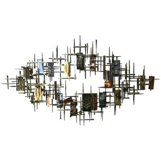 Brutalist Multi-Metal Wall Sculpture by R. H. Berger For Sale