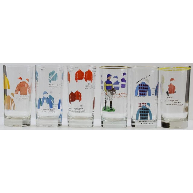 "Hand-Painted Jockey Highball Glasses. Dimensions: 5 5/8""H x 2 3/4""D"