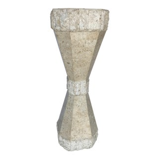 Maitland Smith Tessellated Stone Sculptural Pedestal For Sale