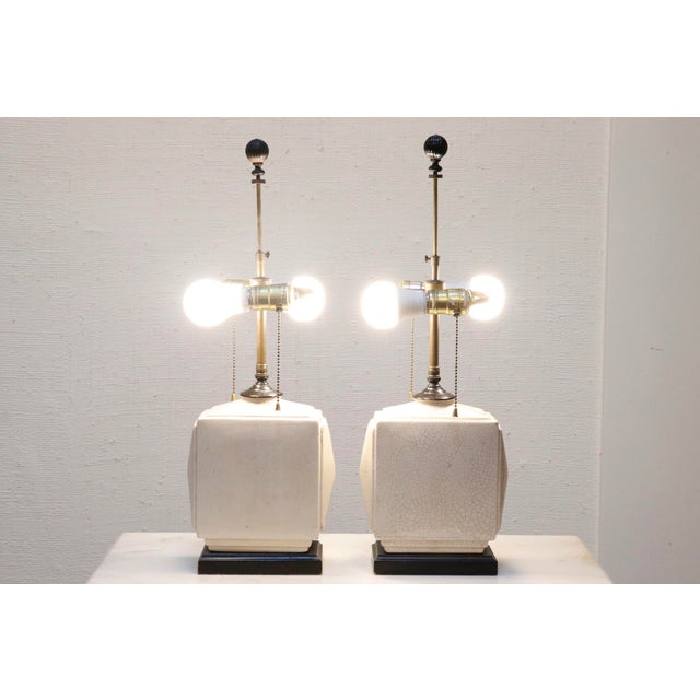 Wood Petite Antique Craquelure Lamps, a Pair For Sale - Image 7 of 8
