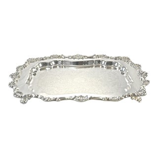 Silver Over Copper Scalloped Rim Footed Tray