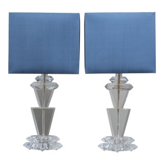 A Pair of Chunky Sculptural Lucite Table Lamps by Van Teal 1970s For Sale
