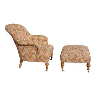 Vintage Lee Jofa Lounge Chair & Ottoman For Sale