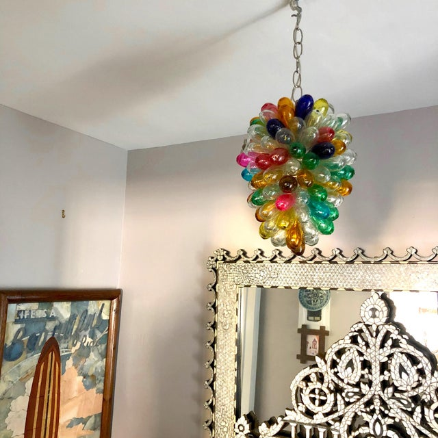 2010s Bright Colors of Light Fixture of Recycled Hand Blown Glass For Sale - Image 5 of 11