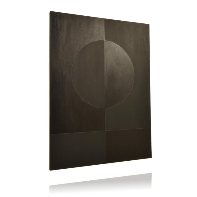 ECLIPSE double black painting is a dramatic geometric abstraction. The bold design and monochromatic painted surface...