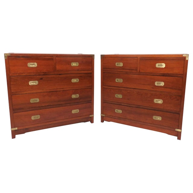 Brass Pair of Mahogany Anglo-Indian Campaign Dressers With Brass Hardware, Circa 1950s For Sale - Image 8 of 8