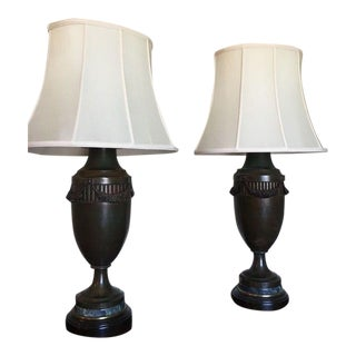 Empire-Style Tole Lamps With Shades - a Pair For Sale