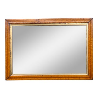 Mid 20th Century Burled Wood + Gold Mirror For Sale