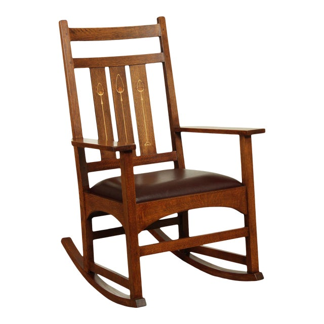 Stickley Mission Collection Harvey Ellis Rocker with Inlay For Sale