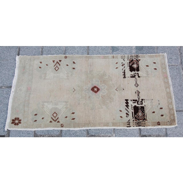Vintage Turkish Muted Colour Carpet - 3' 5'' X 1' 8'' For Sale - Image 11 of 11