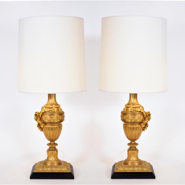 Louis XVI Style Doré Bronze Table Lamps - a Pair For Sale - Image 9 of 10