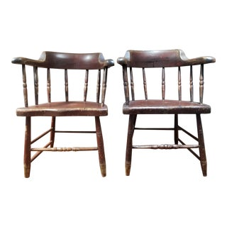 1840's Vintage Painted New England Windsor Chairs- a Pair For Sale