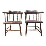 Image of 1940's Vintage Painted New England Windsor Chairs- A Pair For Sale