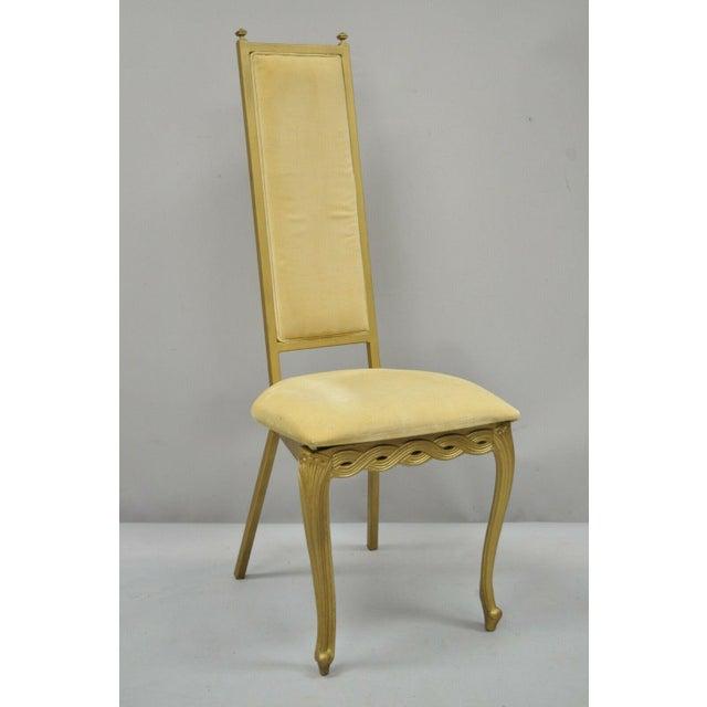 Vintage Kessler French Hollywood Regency Style Cast Metal Tall Back Side Chair For Sale - Image 12 of 12