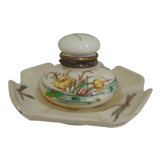French Majolica Inkwell Dragonfly Insect Aesthetic Movement For Sale