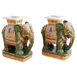 Pair of Asian Elephant Garden Stools or Drink Tables For Sale