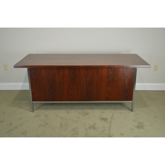 1960s Mid-Century Modern Walnut & Chrome Base Executive Desk For Sale - Image 5 of 13