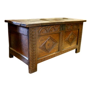 Early 18th Century English Oak Coffer Trunk For Sale