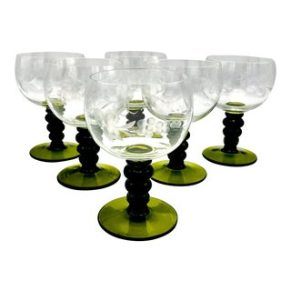 Mid-Century Austrian Roemer Etched Crystal Wine Glasses - Set of 6