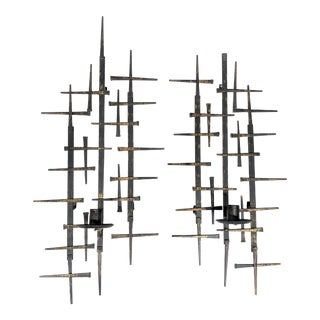 1960s Curtis Jere Style Mid Century Modern Brutalist Nail Art Candle Wall Sconces - a Pair For Sale