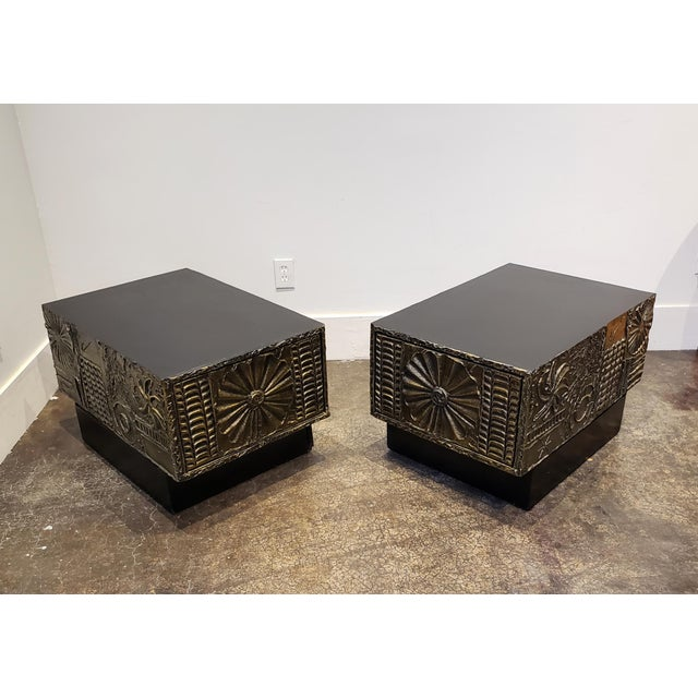 Pair of side or coffee tables from the rare and iconic furniture series designed by Adrian Pearsall and inspired by Paul...
