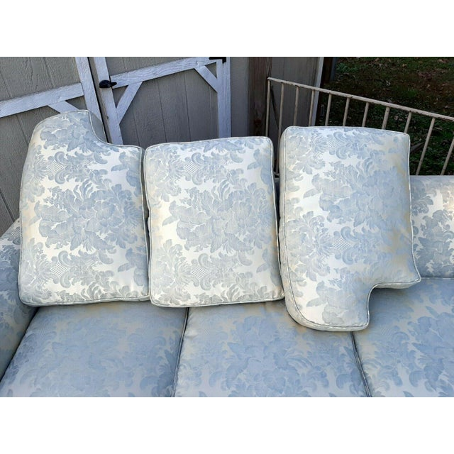Formal Custom Built Blue on Ivory Silky Damask Upholstered Sofa For Sale - Image 9 of 13