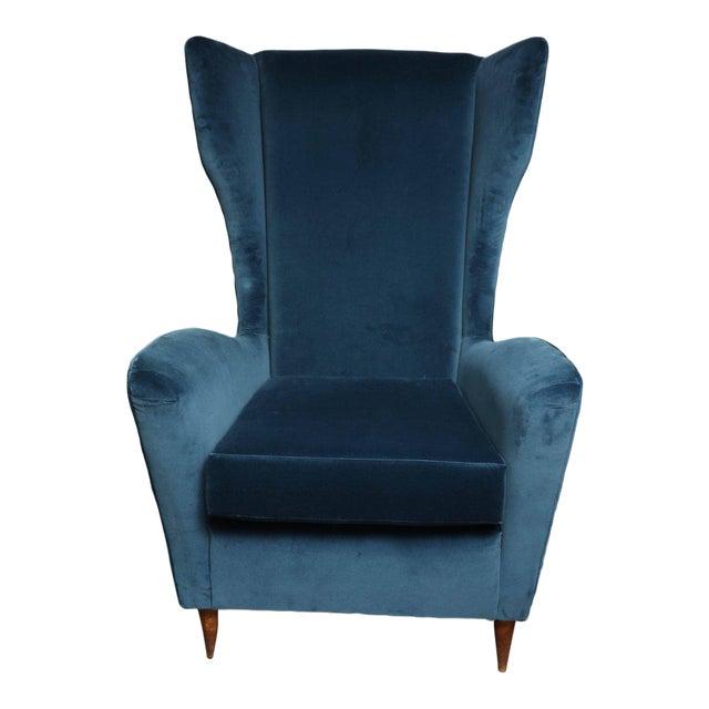 Vintage Italian Modern Wingback Chairs in Blue Velvet For Sale