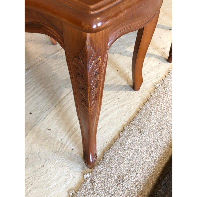 Wood 1950s Vintage Classic French Style Caned and Wood Side Dining Chairs- Set of 4 For Sale - Image 7 of 13