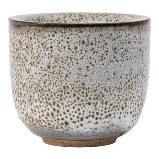 Thick-Walled Studio Pottery Cup With Oil Spot Glaze For Sale