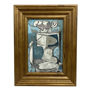 Lucia Lopez Seated Cubist Nude Painting For Sale