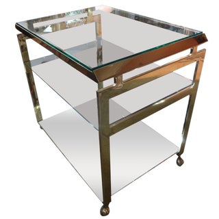 1970s Italian Brass Bar Cart For Sale
