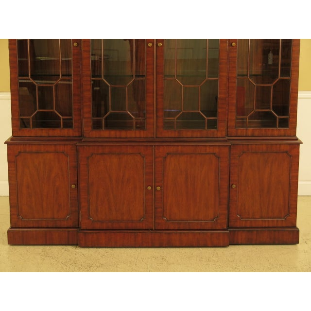 Maitland Smith Large Mahogany Breakfront Bookcase Cabinet For Sale - Image 11 of 13