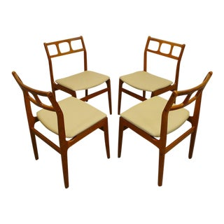 Set of 4 Mid-Century Danish Modern D-Scan Reupholstered Cream Leatherette Teak Dining Chairs