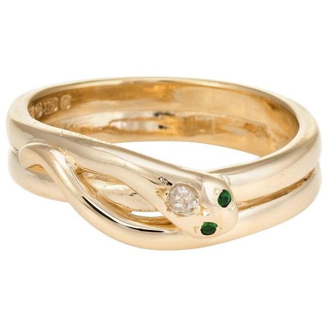 Gold Vintage Snake Ring 9 Karat Yellow Gold Diamond Emerald Alternative Wedding Band For Sale - Image 8 of 8
