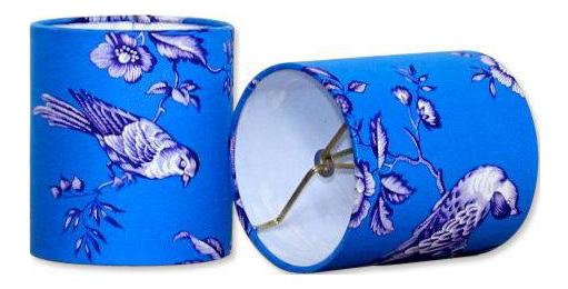 Modern Blue Bird Drum Sconce Or Chandelier Lamp Shades   A Pair