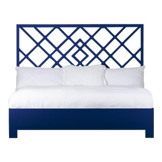 Darien Bed King - Navy Blue For Sale
