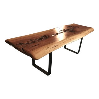 Contemporary Handmade Live Edge Wood Coffee Table For Sale