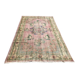 Hand Knotted Distressed Pink Turkish Rug For Sale
