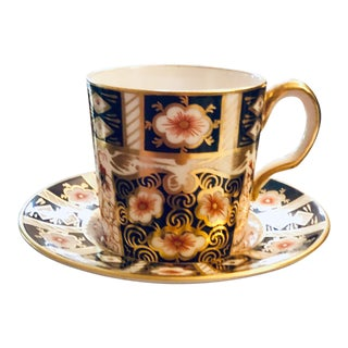 Antique Royal Crown Derby Imari Demitasse Cup and Saucer - 2 Pieces For Sale