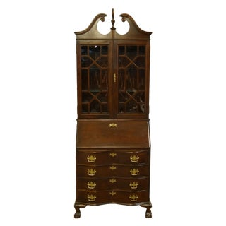 20th Century Chippendale Jasper Cabinet Solid Cherry Style Fall Front Secretary Desk For Sale