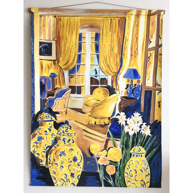 Cheerful French Salon Scene in Blue & Yellow - Image 2 of 10