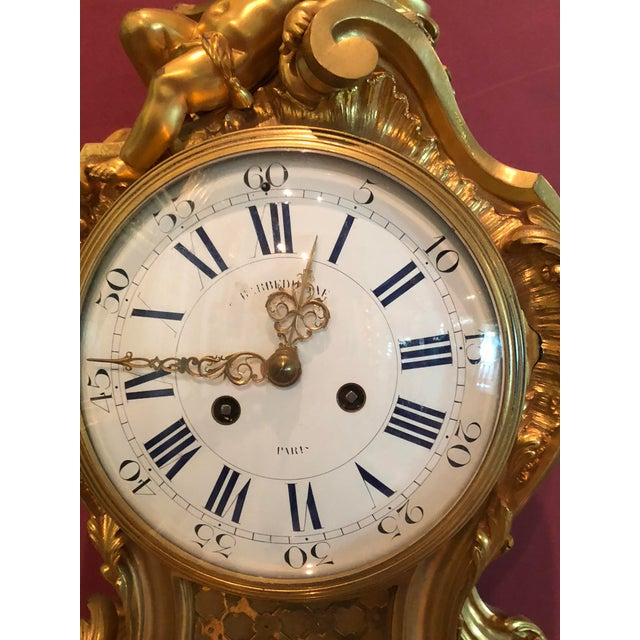 Gold Mid 19th Century Antique f.f. F. Barbedienne Louis XV Mantle Clock For Sale - Image 8 of 13