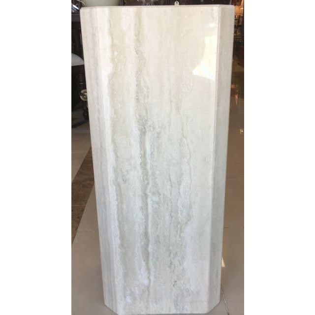 Gray Travertine Marble Pedestal For Sale In Tampa - Image 6 of 10