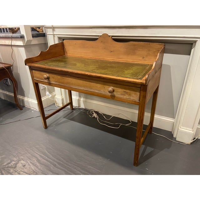 Antique Pine Writing Desk With Leather Top For Sale - Image 9 of 9
