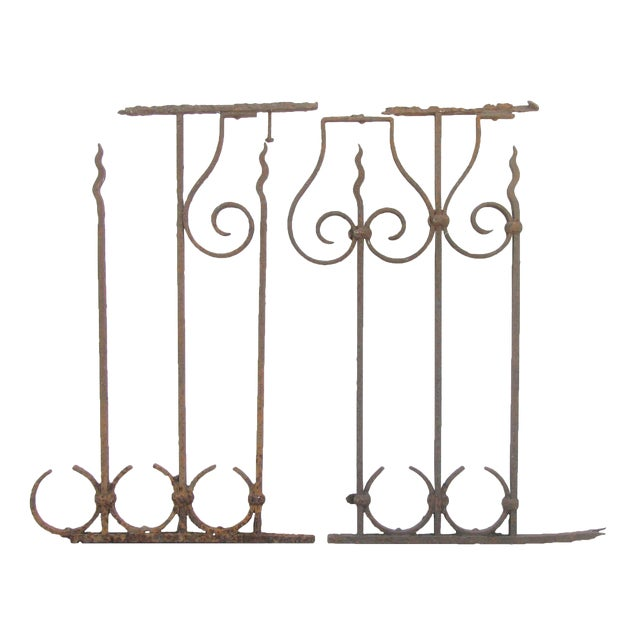 Antique French Iron Fence Fragments, Pair For Sale