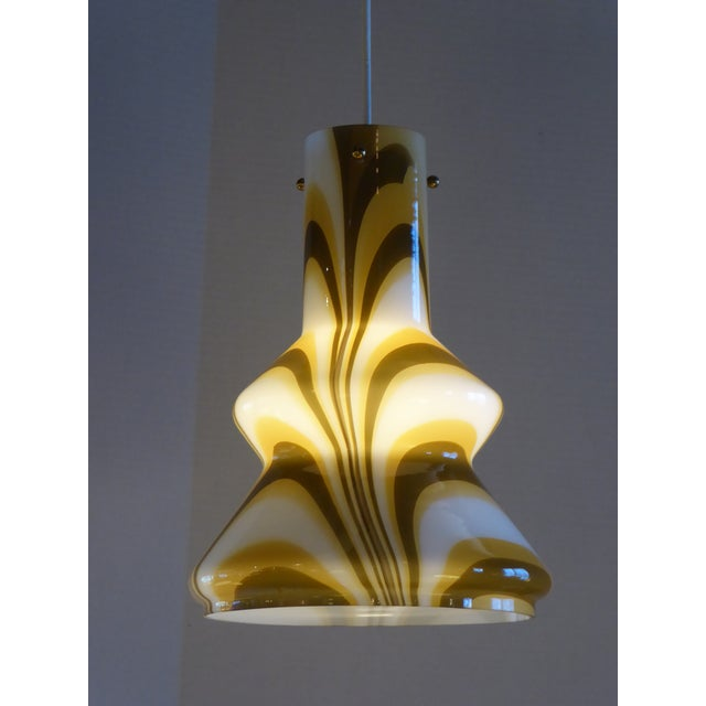 1960s Modern Swirl Blown Glass Pendant For Sale - Image 4 of 11