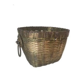 English Brass Basket Planter W/ Lions Heads
