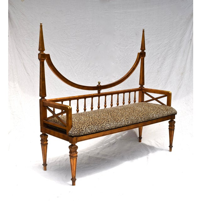 Mid 20th Century Vintage Mid Century Gold Leaf Leopard Upholstery Hollywood Regency Window Bench For Sale - Image 5 of 11