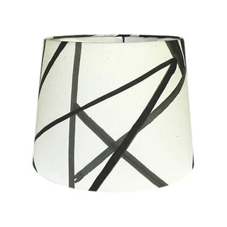 New, Made to Order, Channels Fabric Ebony & Ivory, Large Drum Lamp Shade